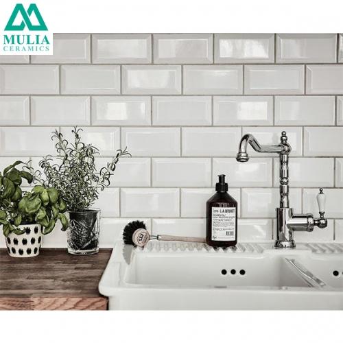 Keramik Dinding Mulia Subway Bevel White KW1 10x20