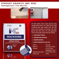Semen Macksons MC-400 Homogenous Tile Mortar/Perekat granite tile (isi 25Kg/sak)