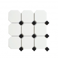MOZZA TILE Octa Maxi Matte White 95x95mm (300x300mm)
