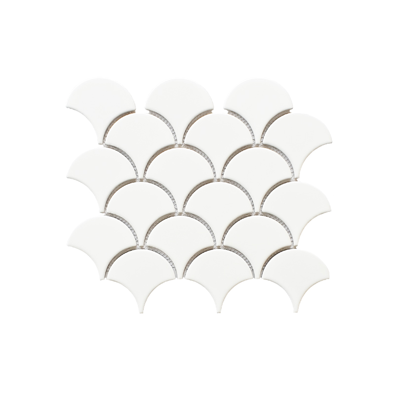 MOZZA TILE: MOZZA TILE Fan Glossy White 74x70mm (255x219mm) - small 1